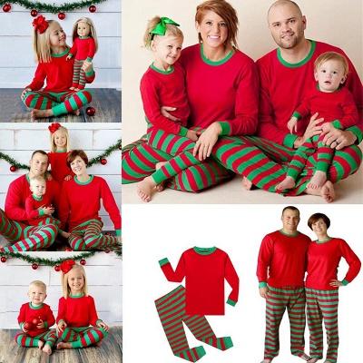 Подходящие семейные пижамы наборы рождественские пижамы с Рождеством оленей_14