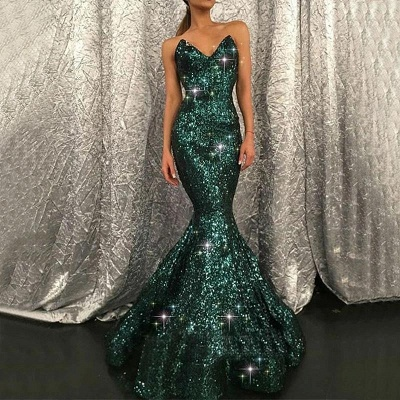Sparkly Sweetheart Dark Green Sequins Mermaid Prom Evening Gown_2