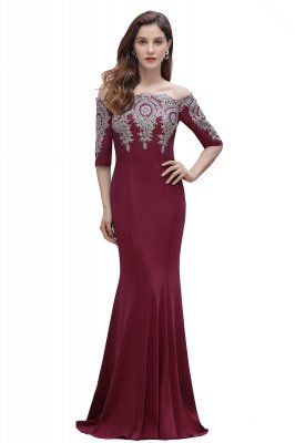 Off the Shoulder Half Sleeves Mermaid Evening Dress Gold Appliques Prom Dress_1