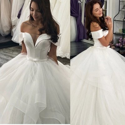 Elegant Off Shoulder Ball Gown Puffy Layers Wedding Dress