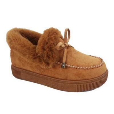 Модные теплые меховые ботинки на плоской подошве с круглым носком Daily Round Toe_14
