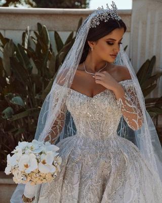Luxuriöses Ballkleid Pailletten Brautkleid Langarm Satin Maxikleid_5