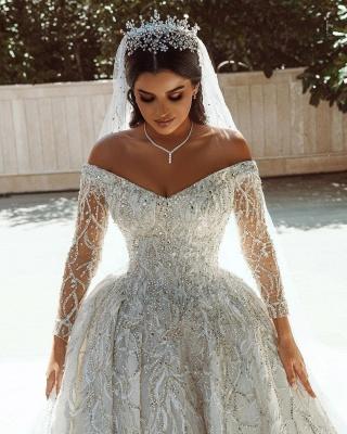Luxuriöses Ballkleid Pailletten Brautkleid Langarm Satin Maxikleid_8