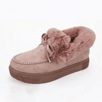 Модные теплые меховые ботинки на плоской подошве с круглым носком Daily Round Toe_3