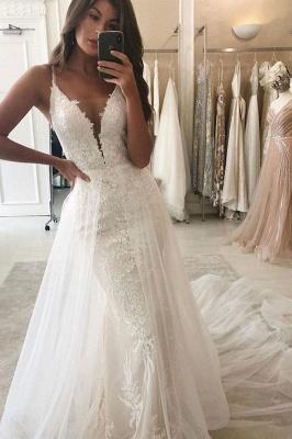White/Ivory Mermaid Garden Bridal Gown Wedding Dress V-Neck Straps Detachable Train_1