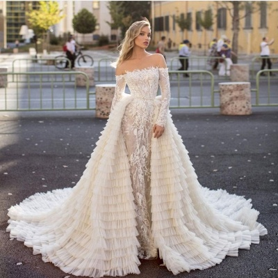 Off the Shoulder Wedding Gown Long Sleeve Floral Mermaid with Detachable Train_5
