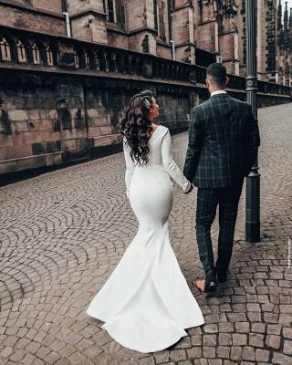 Mermaid Wedding Dress Long Sleeve Satin Bridal Gowns_3