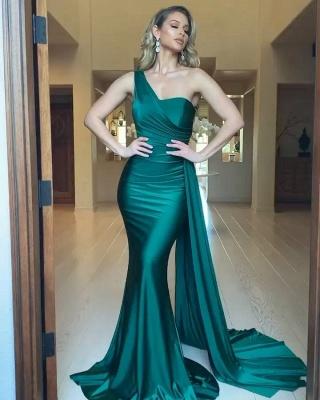 Очаровательное тонкое атласное вечернее платье на одно плечо с русалкой_3
