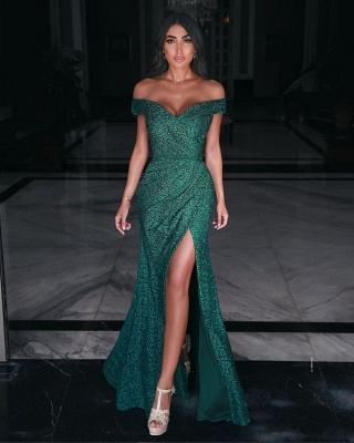 Очаровательное вечернее платье макси с открытыми плечами и разрезом по бокам_2