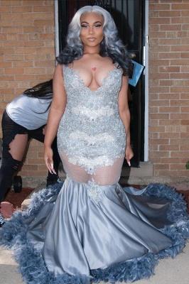 Apliques de talla grande Vestido de fiesta de sirena Hasta el suelo Cola de plumas Cuello en V_2
