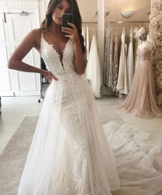White/Ivory Mermaid Garden Bridal Gown Wedding Dress V-Neck Straps Detachable Train_2