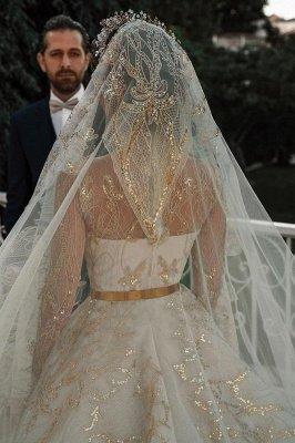 Luxuriöse Meerjungfrau Gold Pailletten Brautkleider Muster Sweep / Trumpt Zug_5