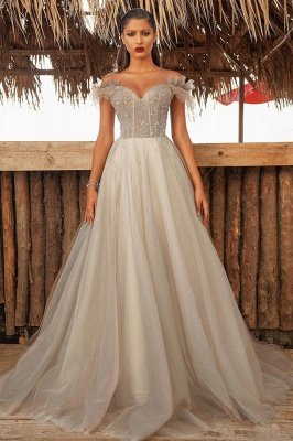 Sparkly Off Shoulder A-line Evening Gown Floor Length Formal Wear