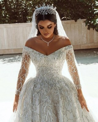 Vestido de fiesta de lujo con lentejuelas Vestido de novia Vestido largo de satén de manga larga_8