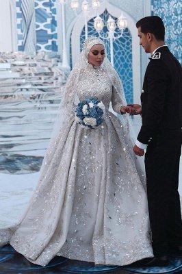 Lujoso vestido de novia con lentejuelas Aline tren de barrido de manga larga con cuello alto_2