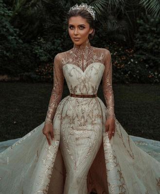 Luxuriöse Meerjungfrau Gold Pailletten Brautkleider Muster Sweep / Trumpt Zug_8