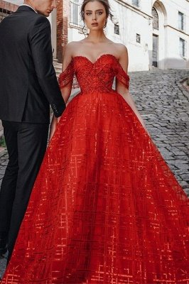Unique Red Off-the-shoulder Sparkle Puffy Evening Dress_1