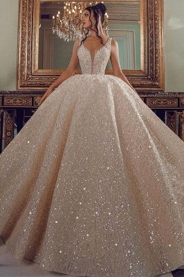Cathedral wedding dress V-Neck Aline Sequined Bridal Gowns Sleevelss_2