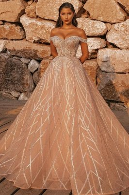 Off the Shoulder Sequins Aline Wedding Gown