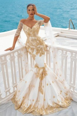 Mermaid Wedding Gowns Gold Appliques Half Sleeve Cape