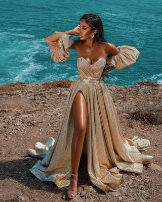 Vestido maxi de fiesta de noche con frente dividido sin mangas con purpurina Vestido de fiesta de boda_8