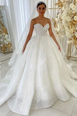 Sweetheart Princess A-line Wedding Gowns Garden Lace Appliques Dress for Bride