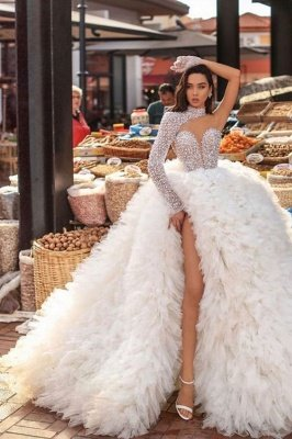 Sexy One Shoulder Feather Splitfront Wedding Party Gown Glitter Sequins