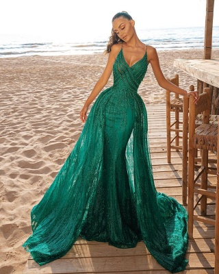 Платье для выпускного вечера с длинным рукавом и V-образным вырезом Вечерние платья с блестками и шлейфом_2