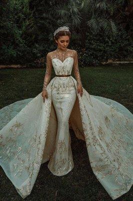 Luxuriöse Meerjungfrau Gold Pailletten Brautkleider Muster Sweep / Trumpt Zug_1
