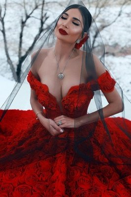 Robe de bal imprimée florale 3D à épaules dénudées pour robes de soirée fille_2