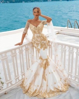 Mermaid Wedding Gowns Gold Appliques Half Sleeve Cape_3