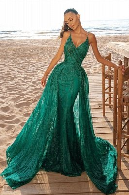 Mermaid Prom Party Dress V-Neck Sequined Evening Gowns Sweep/Trumpet Train