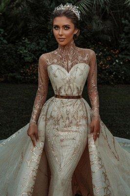Luxuriöse Meerjungfrau Gold Pailletten Brautkleider Muster Sweep / Trumpt Zug_2