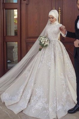A-line Ball Gown Sequins Long Sleeve Highneck Wedding Gown