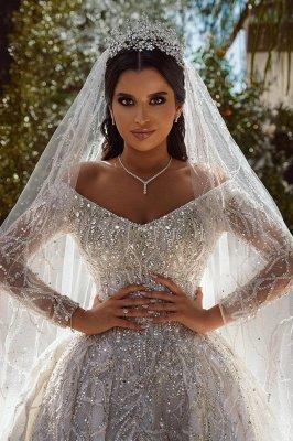 Vestido de fiesta de lujo con lentejuelas Vestido de novia Vestido largo de satén de manga larga_4
