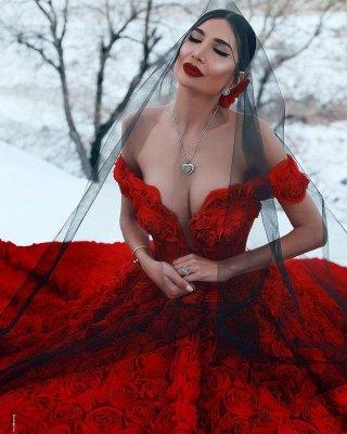 Robe de bal imprimée florale 3D à épaules dénudées pour robes de soirée fille_6