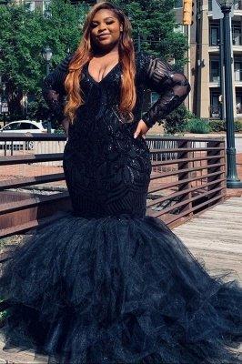 Robes de soirée sirène col en v grande taille robes de bal scintillantes en plumes_1