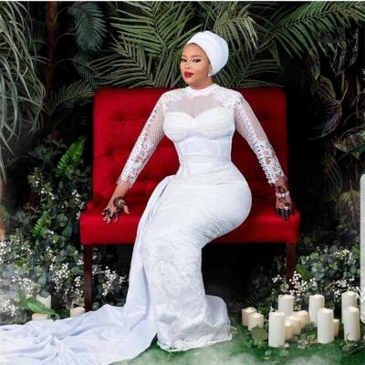 Vestido de novia de tul de encaje blanco de manga larga_3