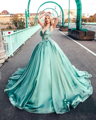 Dazzling Halter Sweetheart A-line Princess Party Gowns Sleeveless Long Evening Dress_2