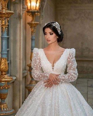 Glamouröses V-Ausschnitt mit langen Ärmeln A-Linie Prinzessin Brautkleid mit Sweep-Zug_3