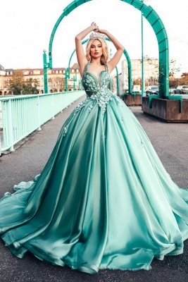 Dazzling Halter Sweetheart A-line Princess Party Gowns Sleeveless Long Evening Dress_1