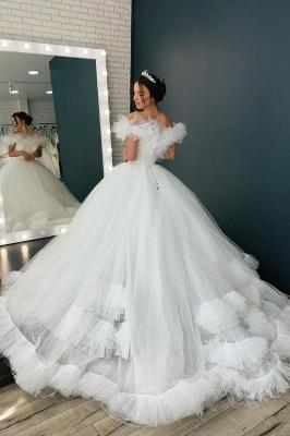 Weiß / Elfenbein aus der Schulter Puffy Tulle Lace Ballkleid Princess Bridal Gown_2