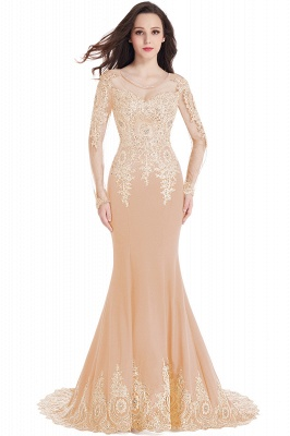 Crystal   Sexy Mermaid Lace Appliques Long Sleeves Prom Dresses with Beadings_4