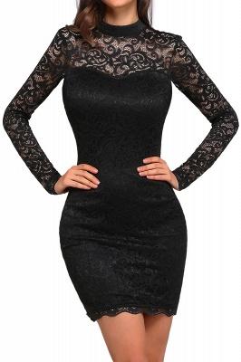 ARYANNA   Sheath High Neck Short Black Lace Cocktail Dresses_1