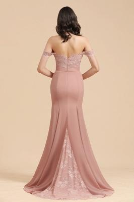 Vestido de noche de sirena con apliques de encaje floral con hombros descubiertos Vestido de dama de honor_3