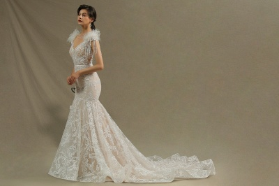 Glamorous Lace Appliques Mermaid Wedding Gown Fur Leather Off Shoulder V-Neck Maxi Dress for Bride_5