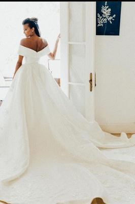 Superbe hors de l'épaule robe de mariée en satin Aline robe de mariée jardin_4
