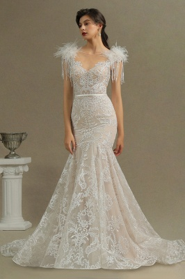 Glamorous Lace Appliques Mermaid Wedding Gown Fur Leather Off Shoulder V-Neck Maxi Dress for Bride_3