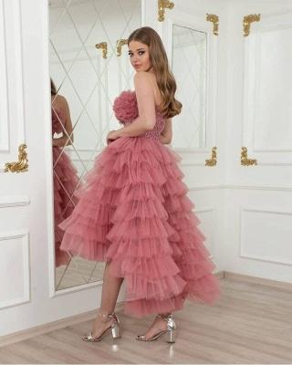 Romantisches rosa kurzes Hi-Lo-Hochzeitsfestkleid mit Tüllschichten_2