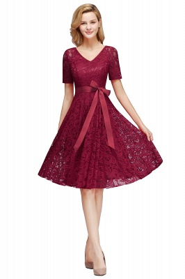 Элегантные платья с короткими рукавами V-образного вырезывания с поясом_3